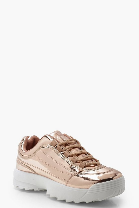 Womens Rose gold Metallic Chunky Trainers