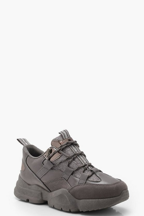 Womens Grey Chunky Hiker Trainers