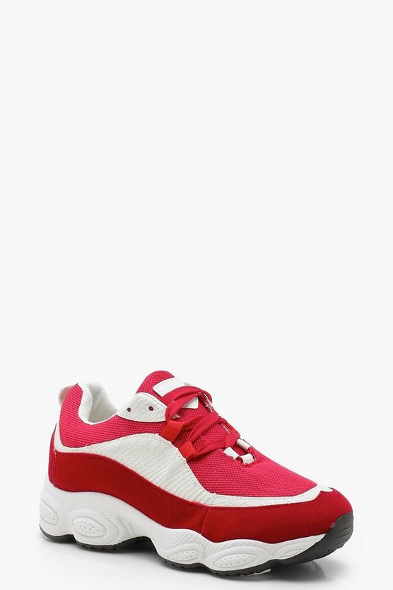 Womens Red Chunky Trainers