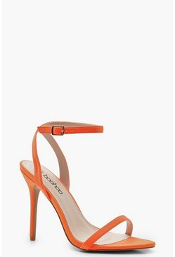 Womens Orange Pointed Toe Two Part Heels