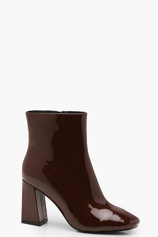 Womens Chocolate Square Toe Ankle Boots