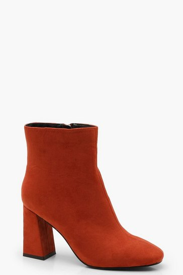 Womens Rust Square Toe Ankle Boots