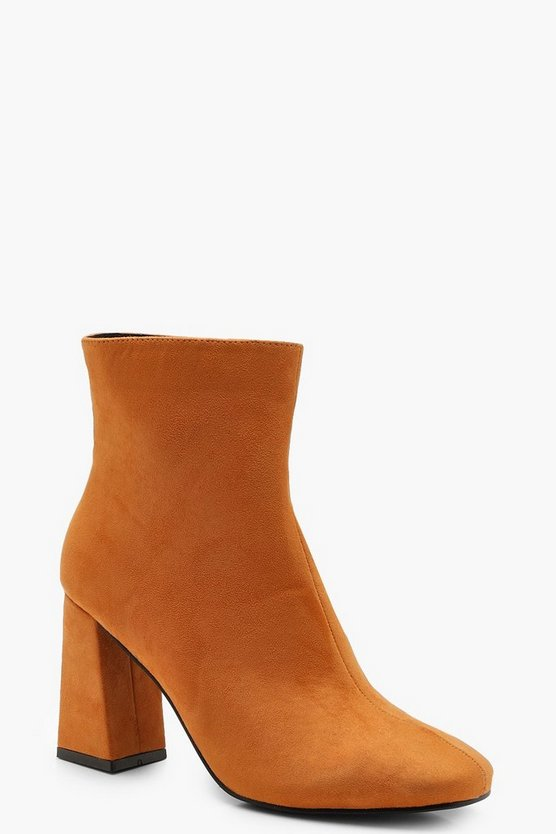 Womens Mustard Square Toe Ankle Boots