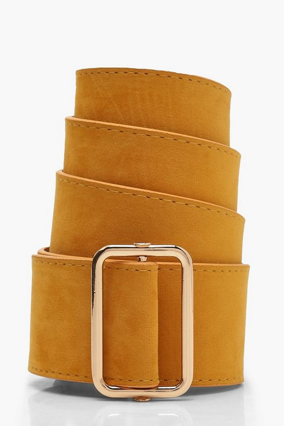 Suedette Square Buckle Belt