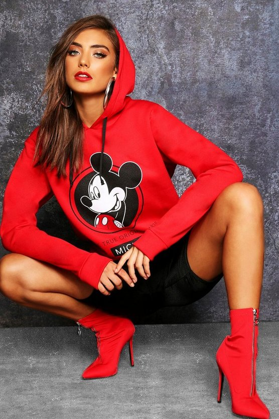 Womens Red Disney Mickey Original Hoodie