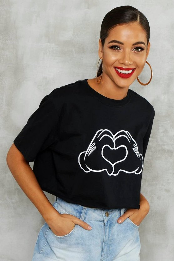 Womens Black Disney Love Hands Crop Top