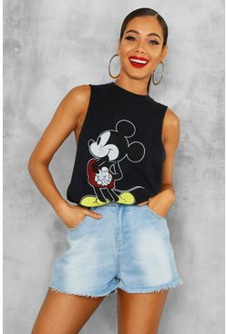 Womens Black Disney Mickey Distressed Drop Armhole Top