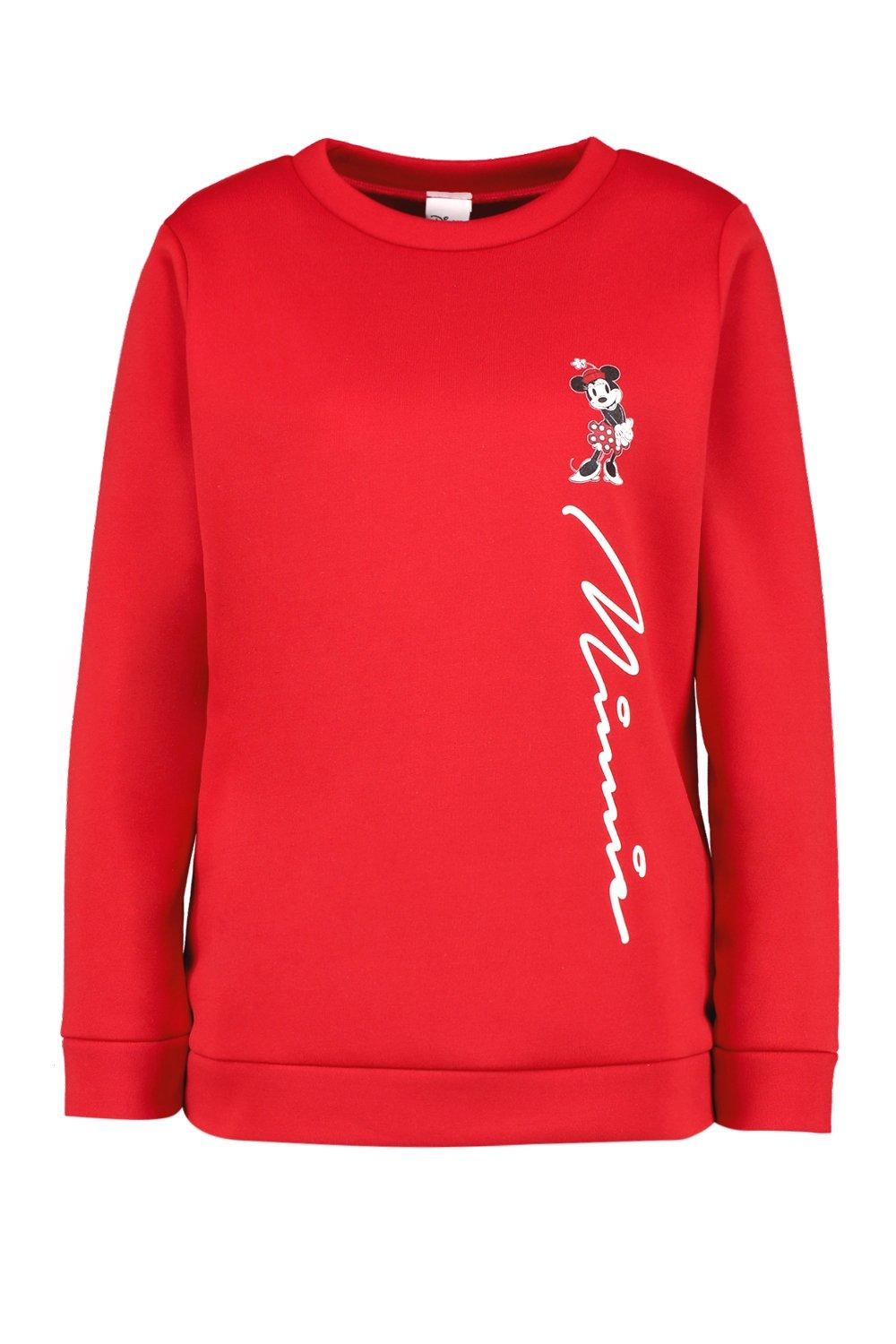 Disney Neck Sweater Crew red Minnie Script TRTqOz