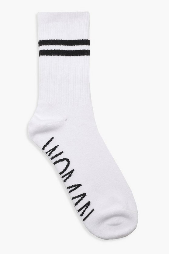 Womens White WOMAN Sports Stripe Ankle Socks