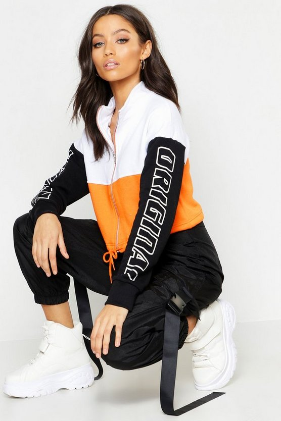 Colour Block Tie Waist Bomber