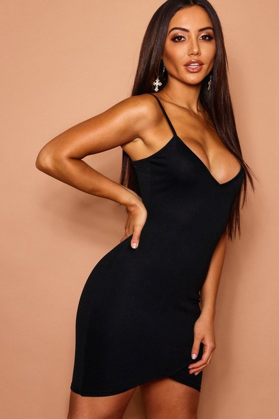 Strappy Wrap Bodycon Dress
