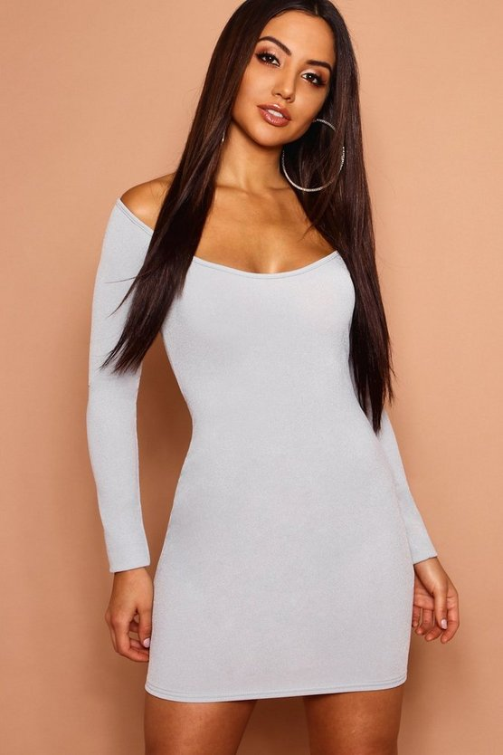 Low Scoop Neckline Bodycon Dress