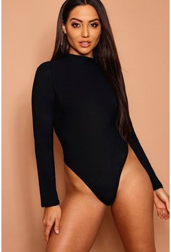 High Rise Long Sleeve Crepe Bodysuit, Black, Donna