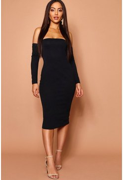 Womens Off The Shoulder Midi Dress