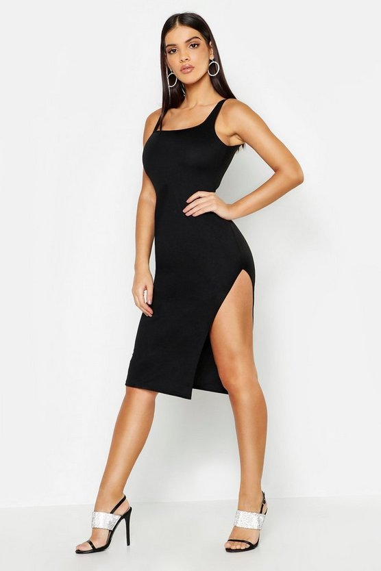 Womens Black Square Neck Thigh Split Midi Dress