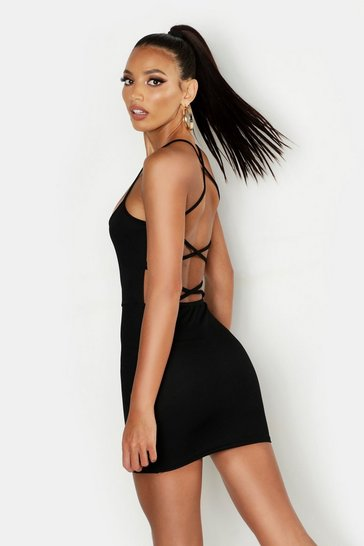 Womens Black Cross Strappy Back Bodycon Dress