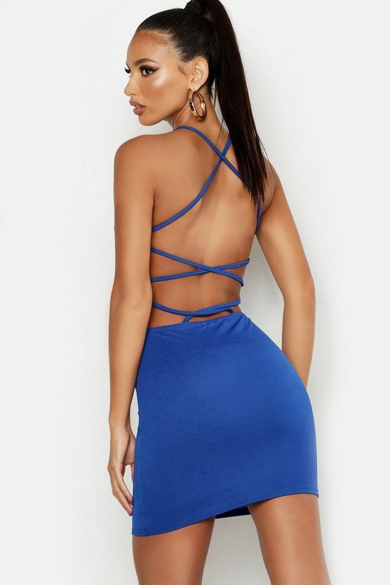 Womens Cobalt Cross Strappy Back Bodycon Dress