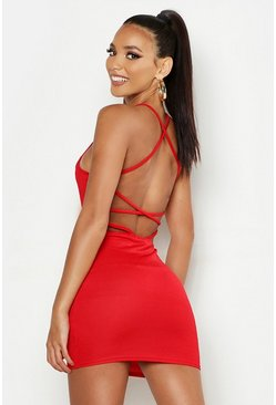 Womens Red Cross Strappy Back Bodycon Dress