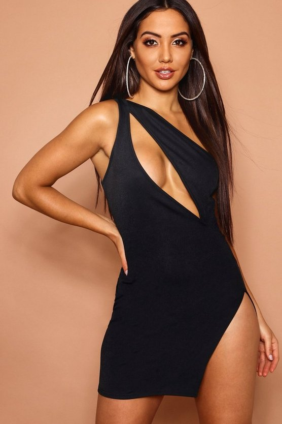 Womens Cut Out Front One Shoulder Bodycon Dress