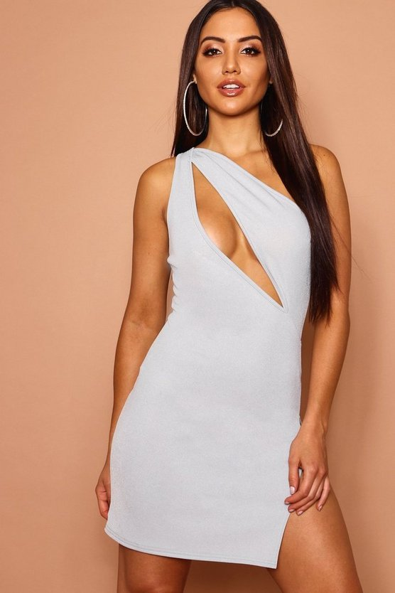 Cut Out Front One Shoulder Bodycon Dress