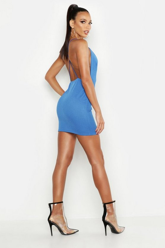 Womens Cobalt Extreme Plunge Neckline Bodycon Dress