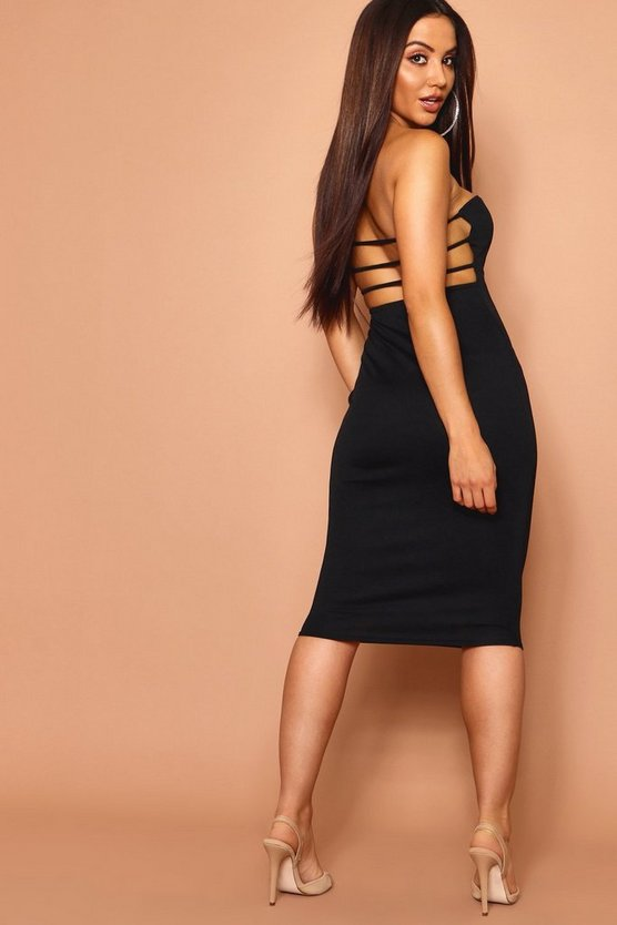 Bandeau Low Scoop Strappy Back Midi Dress