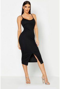 Womens Black Strappy Front Split Midaxi Dress