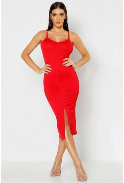 Womens Red Strappy Front Split Midi Dress