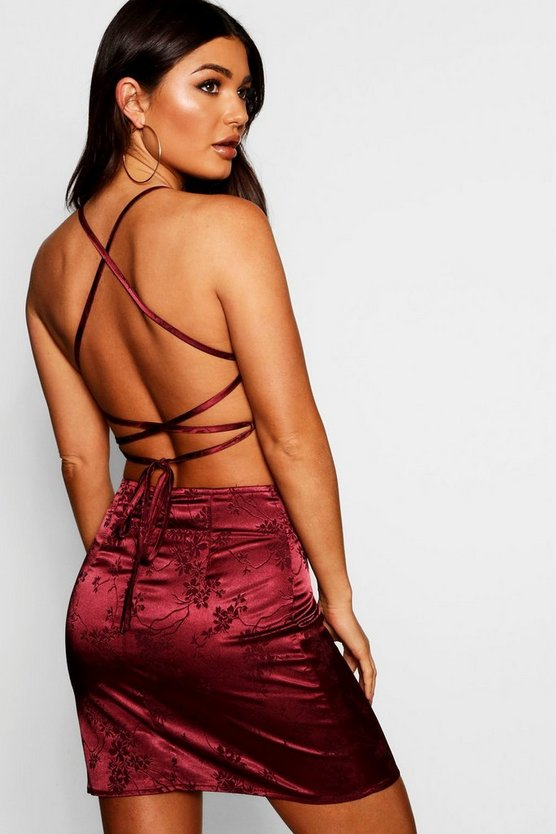 Satin Jacquard Strappy Back Bodycon Dress
