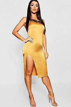 Lace Trim Satin Thigh Split Midi Dress