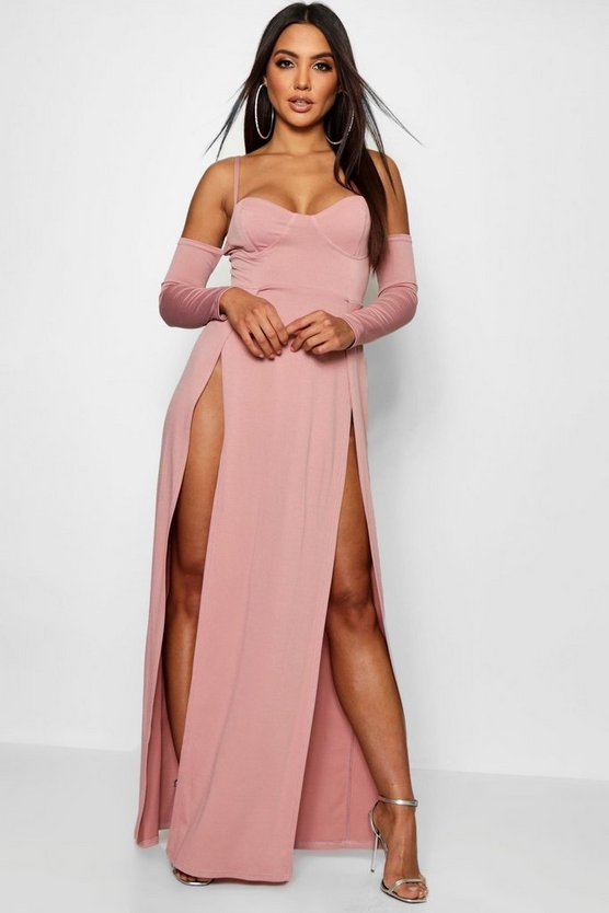 Cupped Bodice Thigh Split Maxi Dress