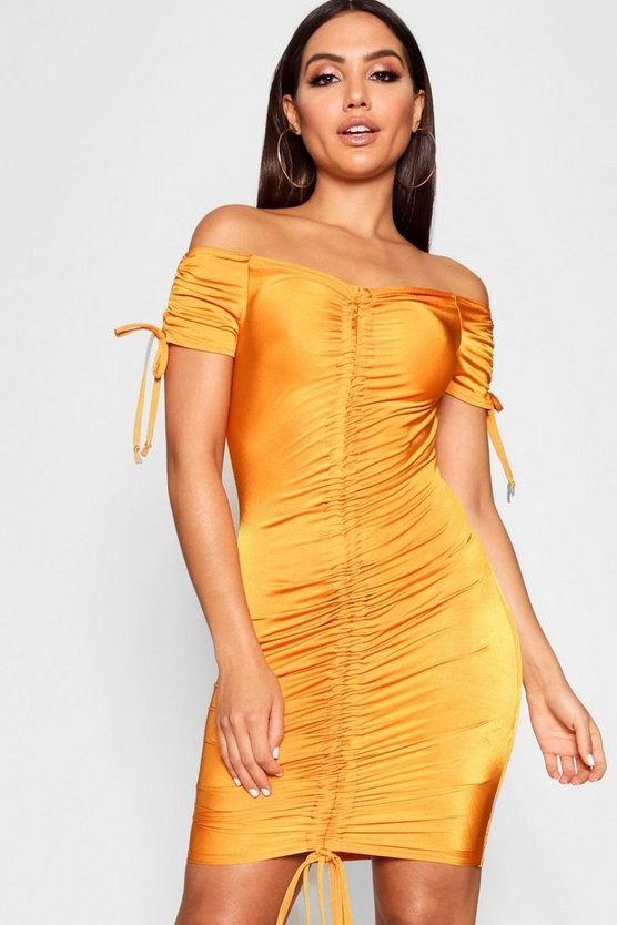 Slinky Ruched Front Detail Bodycon Dress