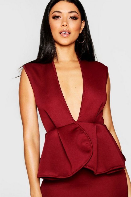 Bonded Scuba Peplum Mini Dress