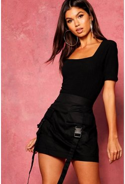 Womens Black Woven Cargo Utility Pocket Mini Skirt
