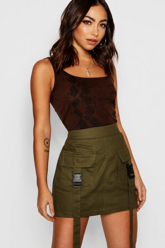 Womens Khaki Woven Cargo Utility Pocket Mini Skirt