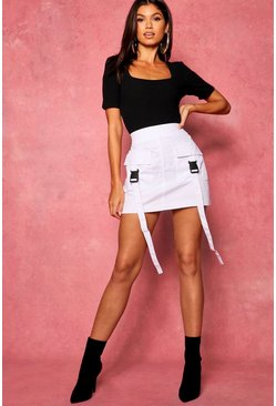 White Woven Cargo Utility Pocket Mini Skirt