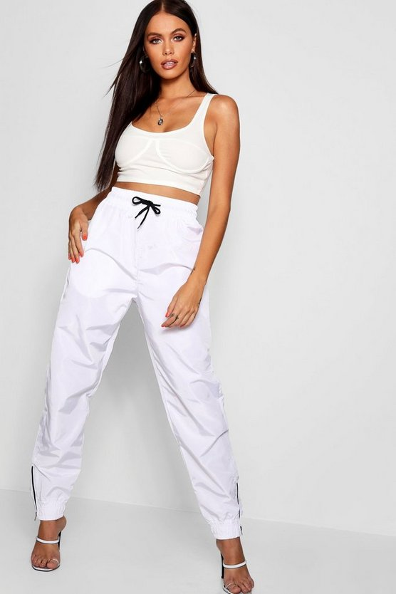 Womens White Shell Suit Jogger