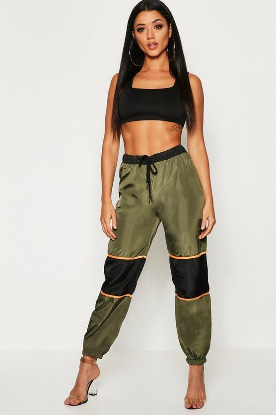 Khaki Contrast Panel Cargo Pants