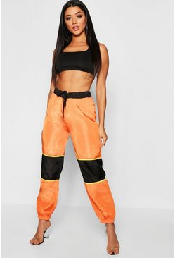 Womens Orange Contrast Panel Cargo Pants