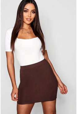 Womens Chocolate Basic Jersey Mini Skirt