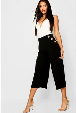 Womens Mock Horn Button Front Culottes