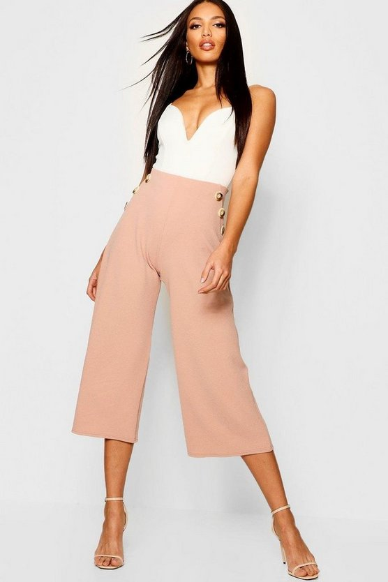 Mock Horn Button Front Culottes