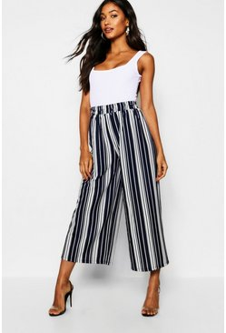 Womens Navy Mono Stripe Fine Pleat Culottes