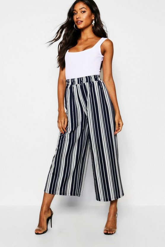 Mono Stripe Fine Pleat Culottes