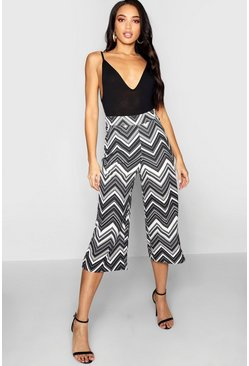 Womens Black Chevron Print Wide Leg Culotte