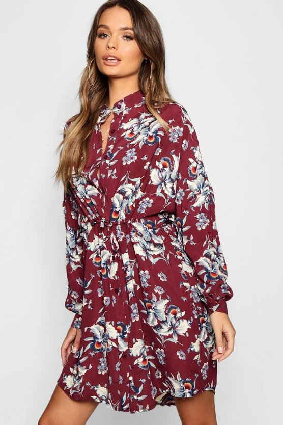 Floral Tie Waist Shirt Dress