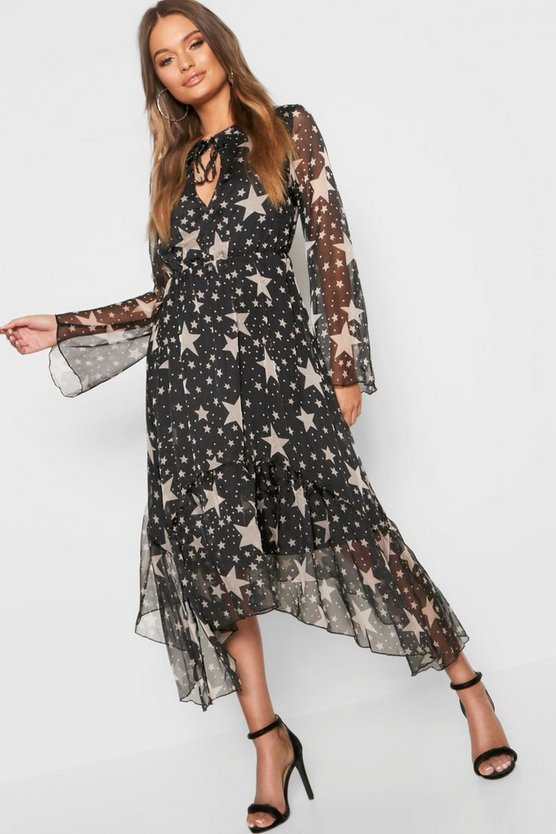 Womens Black Star + Polka Dot Ruffle Hem Midi Dress