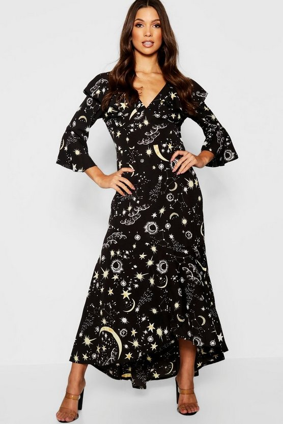 Constellation Print Ruffle Hem Maxi Dress