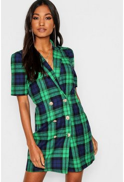 Womens Green Button Front Checked Blazer Dress