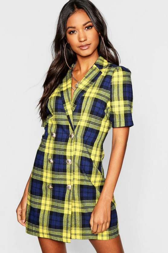 Button Front Checked Blazer Dress